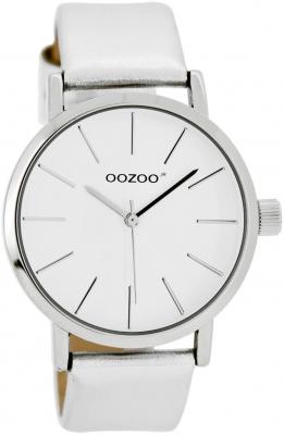Oozoo Damen- / Kinderuhr mit Lederband 40 MM Weiß / Silberfarben JR275