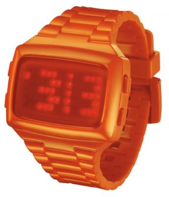 L.E.D. Uhr Orange mit Kunstoffband und roten Led's L69-098RD-OPU