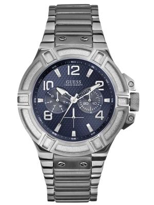 Guess Herrenuhr mit Edelstahl Gliederband Blau / Silberfarben 45 MM W0218G2 B-Ware