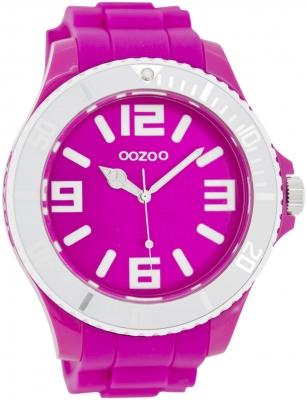 Oozoo Herrenuhr mit Silikonarmband BiColor Zweifarbig 48 MM Pink / Weiß C5818