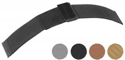 Excellanc Edelstahl Milanaiseband mit Druckverschluß und Sicherheitsbügel in 4 Farben und 8 Breiten
