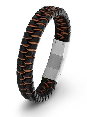 Genieße den kostenlosen Versand elegantes Aussehen neu billig s.Oliver Herren-Armband Lederarmband geflochten Edelstahl Leder 22 cm