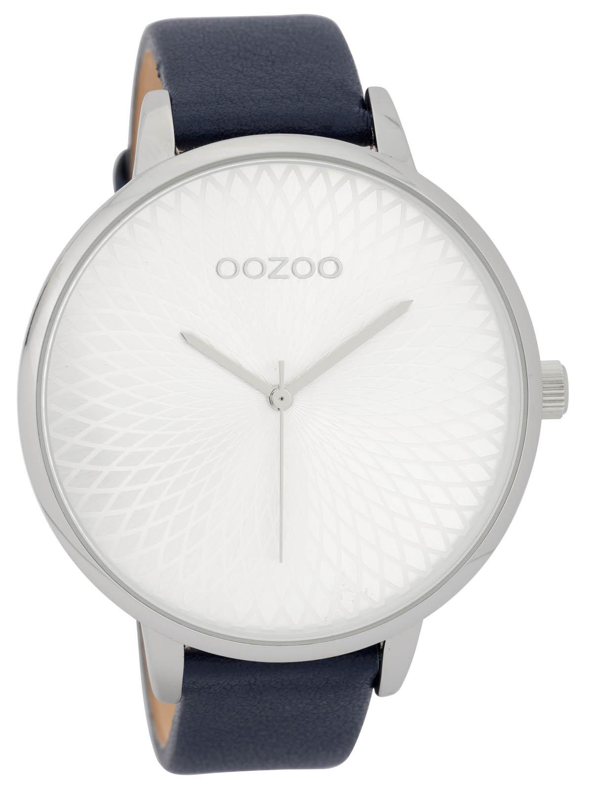 Oozoo Damenuhr mit Lederband 48 MM SilberBlau C9728