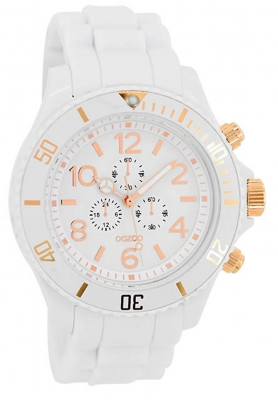 Oozoo Damenuhr mit Silikonarmband Rosefarbene Zahlen und Indexe Chrono Look 43 MM Weiß/Rose C4831