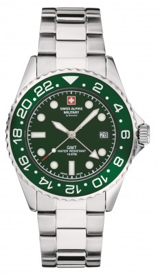 Swiss Alpine Military by Grovana Herrenuhr mit Edelstahl Armband GMT Datum 10 ATM 7052.1134 - B-Ware