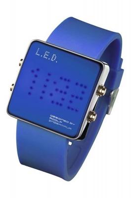 L.E.D. Uhr mit Silikonband und blauen LED's - L69-085BL-ISL