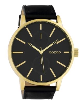 Oozoo Herrenuhr Chrono Look mit Lederband 50 MM Goldfarben / Schwarz / Schwarz C10502