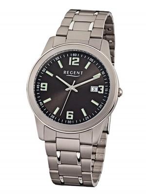 Regent Herrenuhr mit Titan Glieder Armband 38 MM Durchmesser Arabische Zahlen Datum F-841
