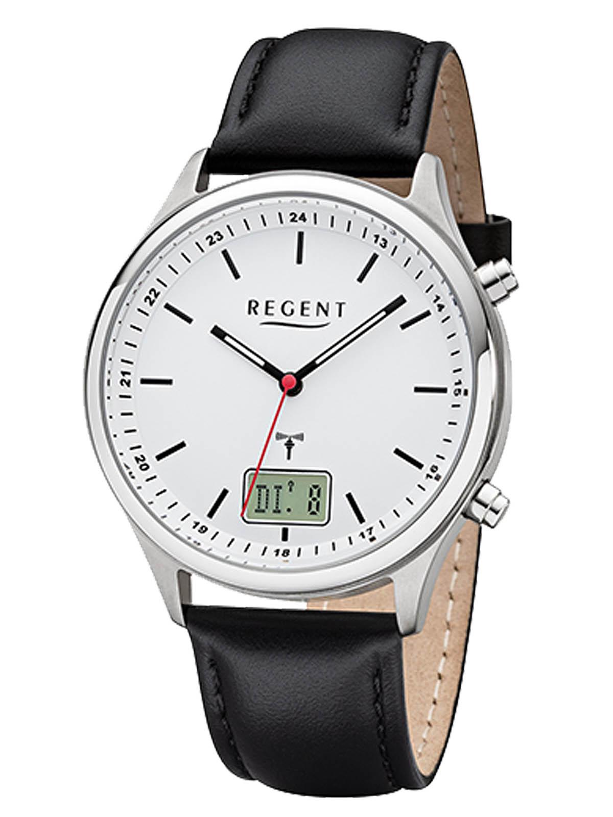 REGENT Herren-Armbanduhr Funkuhr Edelstahl analog-digital