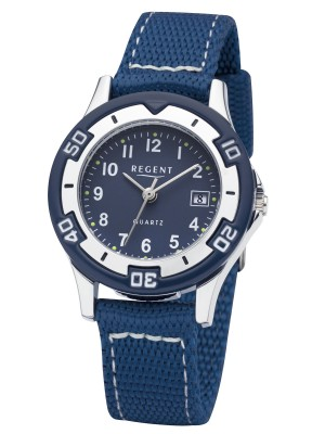 Regent Armbanduhr für Jungen Junioruhr Kinderuhr mit Nylonband Datum Quarz F-1366