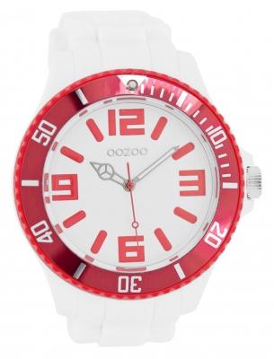 Oozoo Herrenuhr mit Silikonarmband BiColor Zweifarbig 48 MM Weiß / Rot C5816