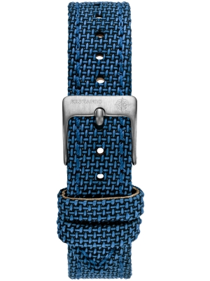 16 mm Uhrenarmband Leder Canvas Blau SI