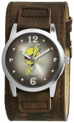 Excellanc Herrenuhr mit Unterleg Armband 42 MM mit Totenkopf Zifferblatt Silberfarben / Dunkelbraun