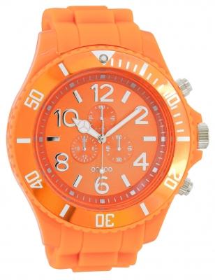 Oozoo Herrenuhr mit Silikonarmband Arabische Zahlen und Indexe Chrono Look 48 MM Orange C4826