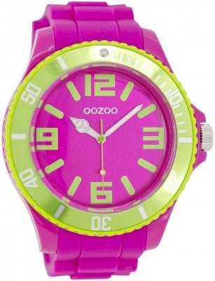 Oozoo Herrenuhr mit Silikonarmband BiColor Zweifarbig 48 MM Pink / Grün C5820
