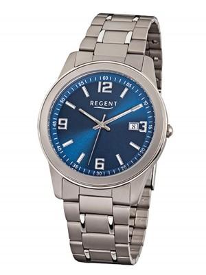 Regent Herrenuhr mit Titan Glieder Armband 38 MM Durchmesser Arabische Zahlen Datum F-840